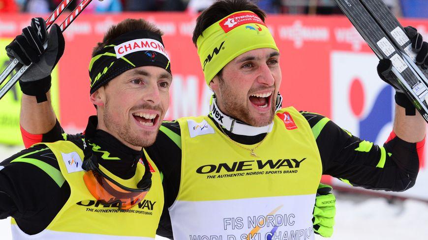 Jason Lamy Chappuis, avec François Braud (à gauche), après son dernier titre mondial (team sprint) de combiné nordique, le 28 février 2015, à Falun en Suède