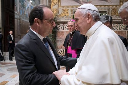 Le pape Francçois rencontre François Hollande, Président de la République Française le 24 mars 2017