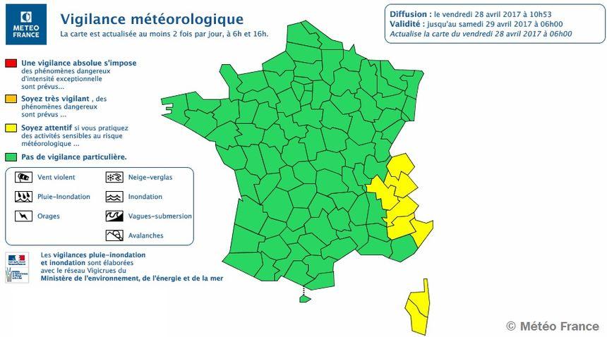 Carte de vigilance de Météo France.