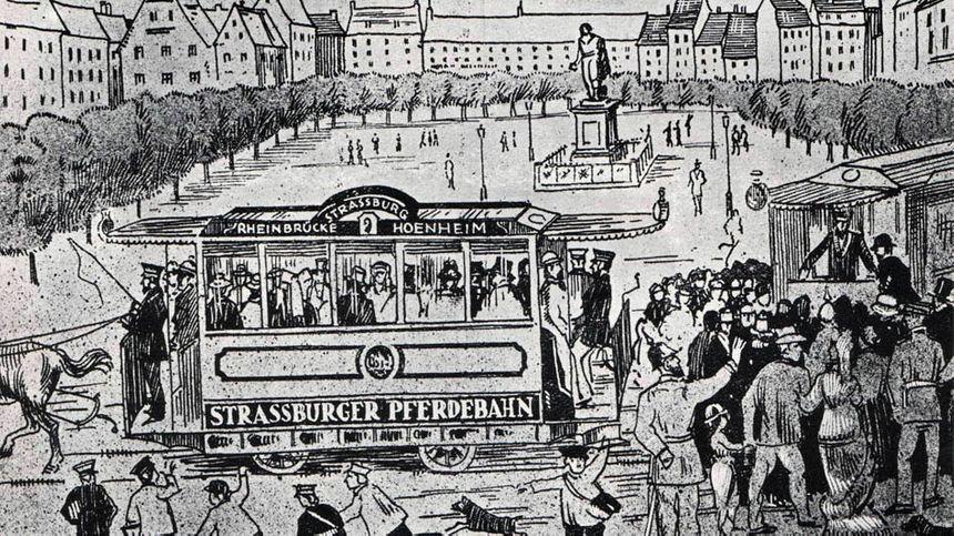 Inauguration du premier tram à Strasbourg en 1878