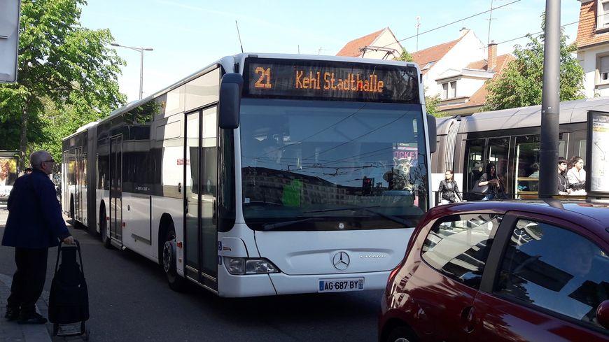 Le bus 21 reliant Strasbourg et Kehl, le 24 avril 2017
