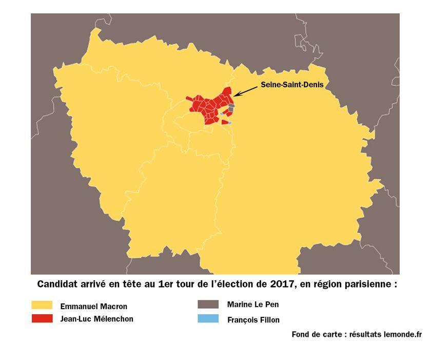 Candidat arrivé en tête au 1er tour de l'élection présidentielle en région parisienne en 2017