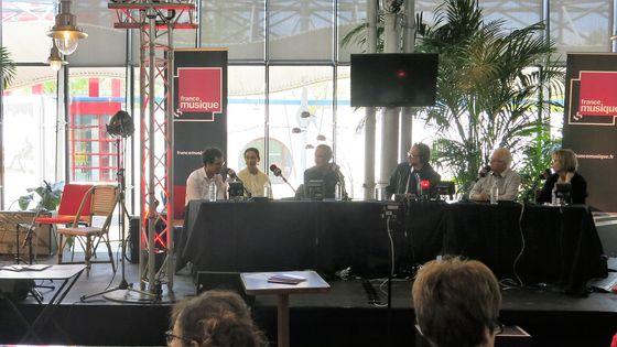 France Musique à Musicora, 29 avril 2017... Après sa prestation interview de Théo Ould en présence de : Marisa Mercadé, Max Bonnay, Benoît Duteurtre, Jacques Mornet, Nathalie Boucheix (de g. à d.)