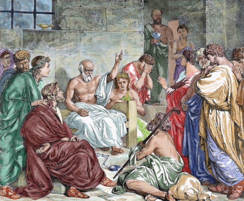 Représentation de Socrate, en prison, condamné à boire la ciguë. Gravure du 19ème siecle (353-16109).