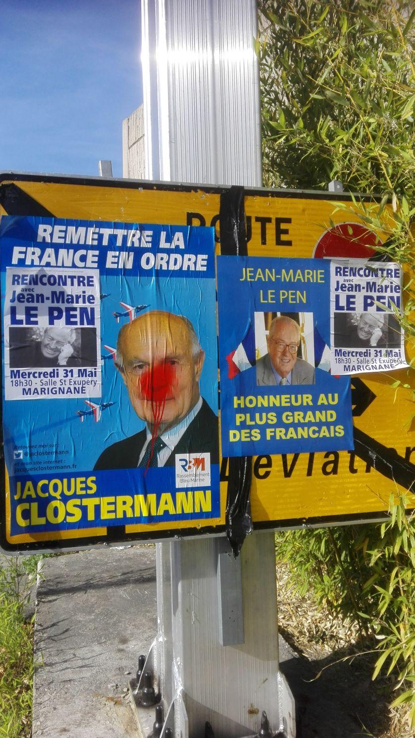 Affiches du candidat Jacques Clostermann, annonçant le meeting de soutien de Jean-Marie Le Pen