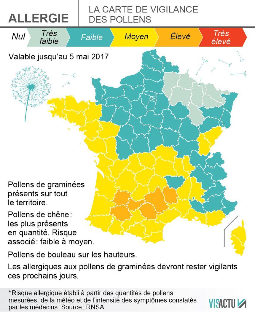 Carte Allergies Les Pollens De Graminees Arrivent