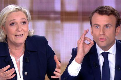 Emmanuel Macron et Marine Le Pen lors du débat télévisé d'entre deux tours le 3 mai.