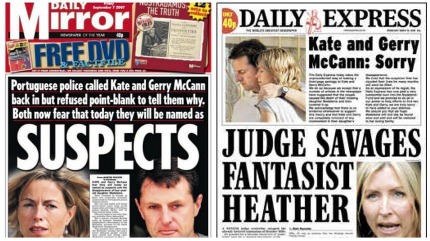 Les médias britanniques, à gauche accablant les parents de Maddie, à droite présentant des excuses quelques semaines plus tard