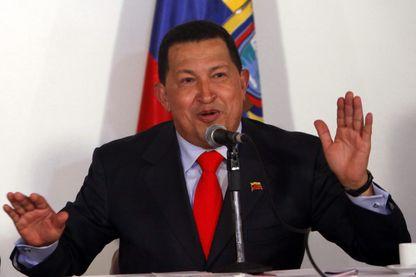 Le président du Venezuela, Hugo Chávez, le 7 Octobre 2009, lors d'une conférence de presse à l'Académie militaire de Caracas (Venezuela).