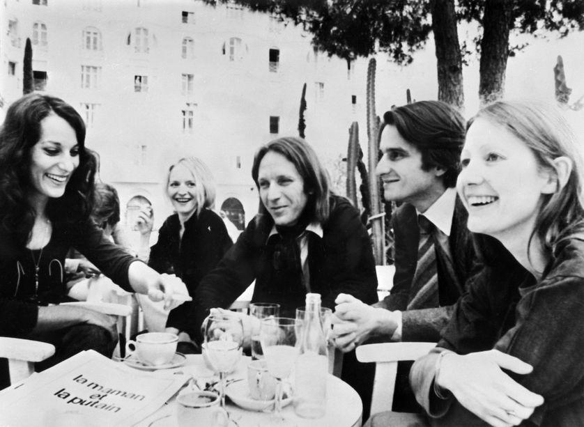 Bernadette Lafont, Marinka Matuszewski, Jean Eustache, Jean-Pierre Léaud et Françoise Lebrun à Cannes en 1973