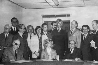 Les membres du jury de Cannes en mai 1968 : Monica Vitti, Andre Chamson and Claude Aveline. Et Boris Von Borrezholm, Vemjko Bulajic, Paul Cadeac D'Arbaud, Jean Lescure....