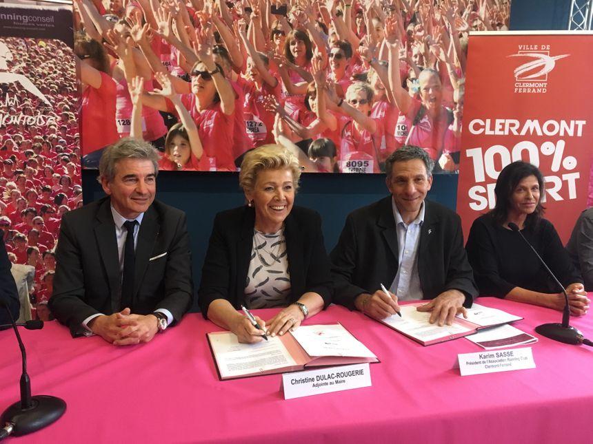 Christine Dulac-Rougerie, l'adjointe aux sports à la mairie de Clermont et Karim Sasse pdt de l'association Running Club Clermont-Ferrand