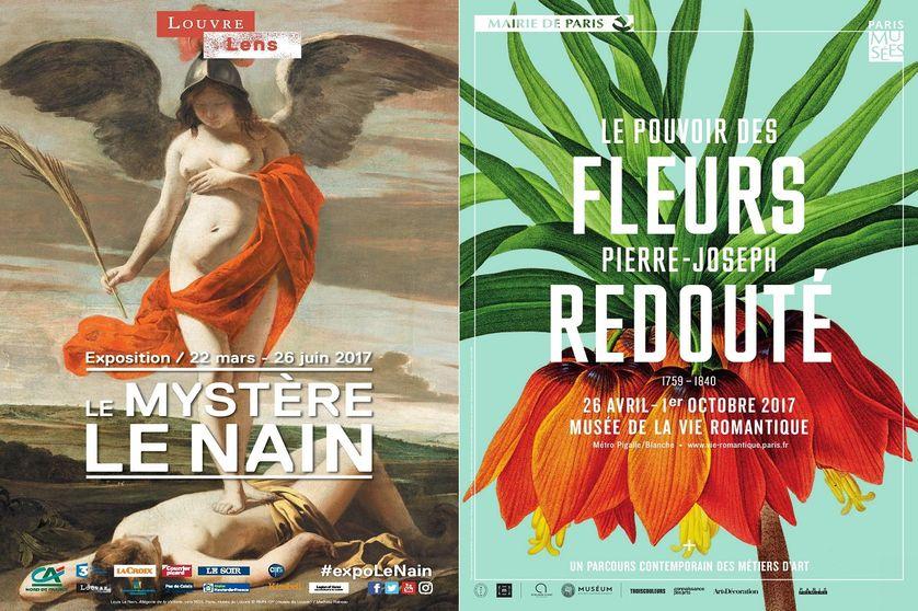 """Affiches des expositions """"Le mystère Le Nain"""" et """"Le pouvoir des fleurs"""""""