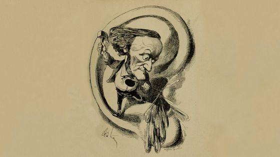 """Richard Wagner par Gill, caricature du XIXe siècle parue dans le journal """"L'Eclipse"""""""