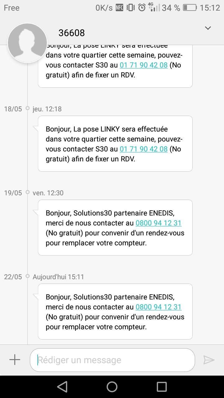 Exemple de textos envoyés par la société chargée d'installer les compteurs Linky sur Dijon