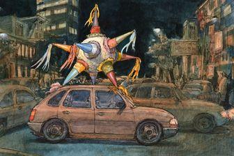 Pinata à sept pics sur le toit d'une voiture à Mexico