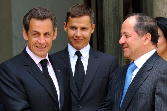 Boris Boillon ambassadeur en Irak,  et Nicolas Sarkozy, Président, aux cotés du Président du Kurdistan irakien en 2010