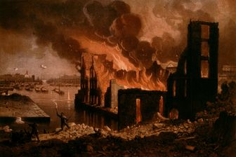 Incendie à Paris au XIXe siècle - tableau anonyme conservé au Musée Carnavalet