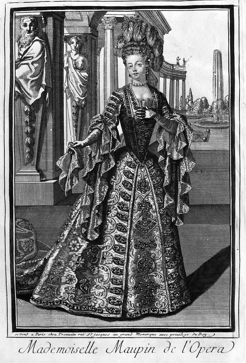 Mademoiselle Maupin (1670-1707), cantatrice francaise. Gravure du 18eme siècle