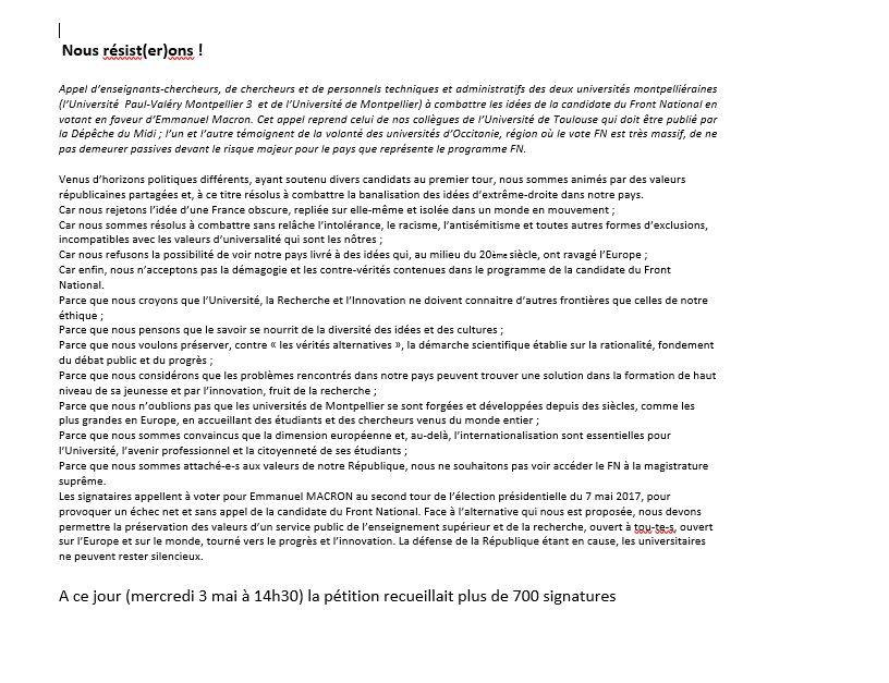 La pétition, relayée par les présidents d'université, et rédigée par des universitaires de Toulouse