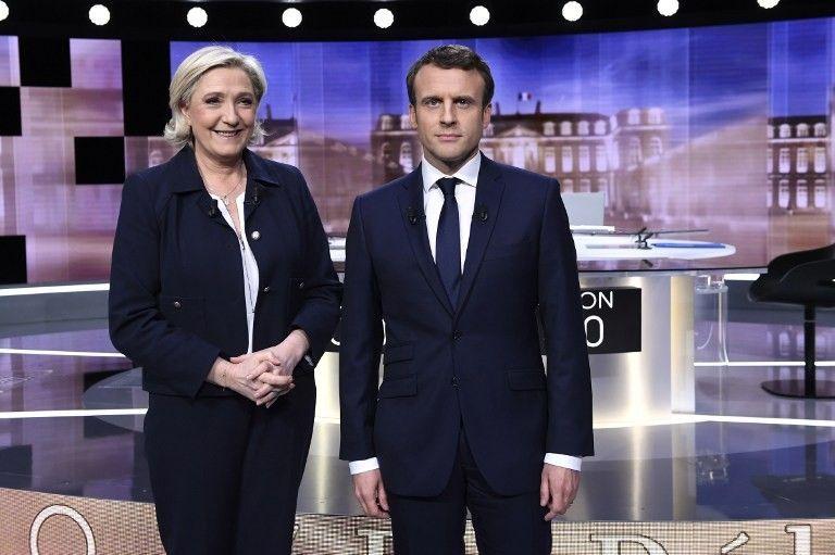 Marine Le Pen et Emmanuel Macron avant le débat télévisé de l'entre-deux-tours