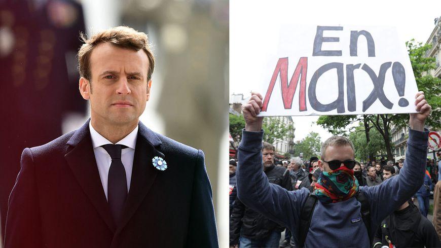 Emmanuel Macron assiste aux commémorations du 8 mai 1945 ; des opposants manifestent à Paris.