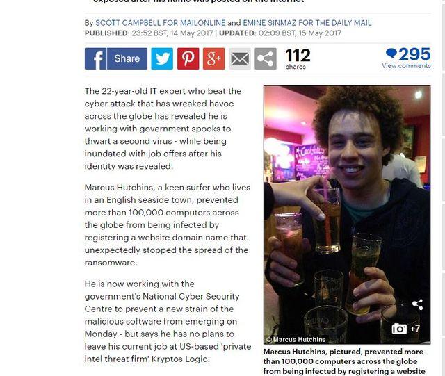 Capture écran du site du Daily Mail