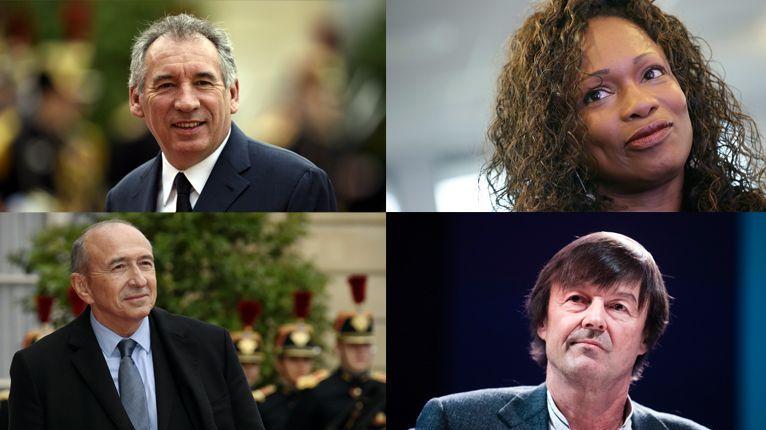 François Bayrou, Laura Flessel, Nicolas Hulot et Gérard Collomb entrent dans le premier gouvernement d'Édouard Philippe.