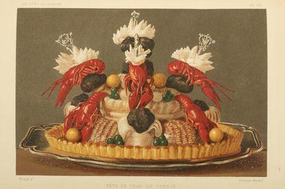 Tête de veau, image tirée du livre de cuisine de J Gouffé de 1867 conservé à la bibliothèque municipale de Dijon