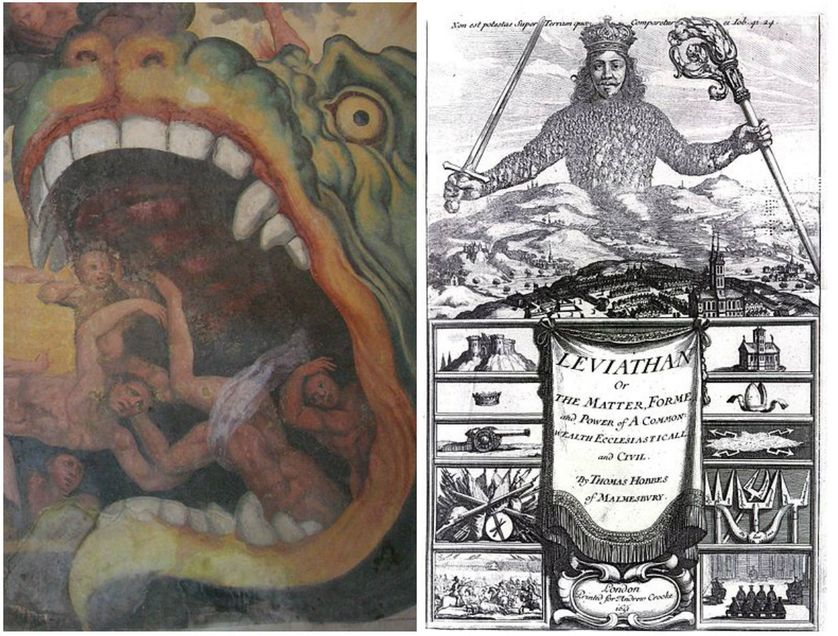 """Leviathan in the fresco """"The Last Judgment"""" (vo:Giudizio Universale), particular; painted by Giacomo Rossignolo (1524-1604) - Madonna dei Boschi, Boves (CN), Italy/Frontispice du Léviathan de Thomas Hobbes, 1651"""