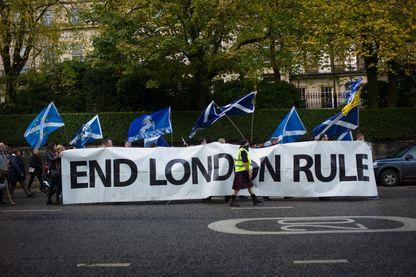 """Manifestation a Edimbourg,  le 22 octobre 2016 - Manifestation pour l'independance de l'Ecosse et le ratachament du pays a l'Union Europeenne suite au referendum sur l'appartenance du Royaume-Uni à l'Union europeenne qui a vu la victoire du """"leave"""""""