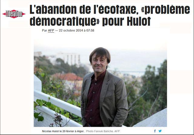 """""""L'abandon de l'écotaxe, """"problème démocratique"""" pour Hulot"""", capture d'écran du site internet de Libération le 25/05/2017"""