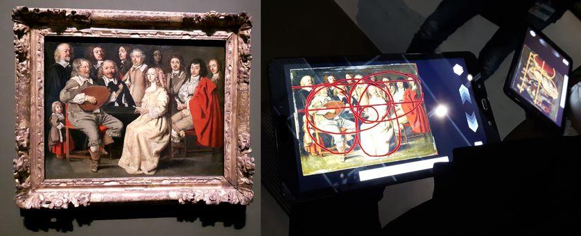 La réunion musicale, dite aussi réunion de famille, d'Antoine Le Nain, analysée grâce à différents tracés par Chloé et sa mère sur leurs tablettes