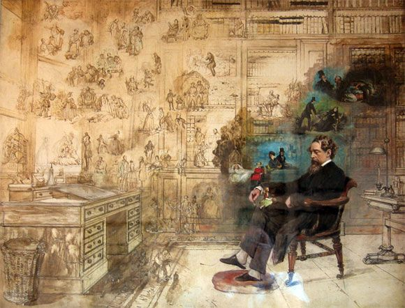 Le Rêve de Dickens (Dickens' Dream) tableau inachevé de Robert William Buss (1804-1875) - Musée Charles Dickens de Londres