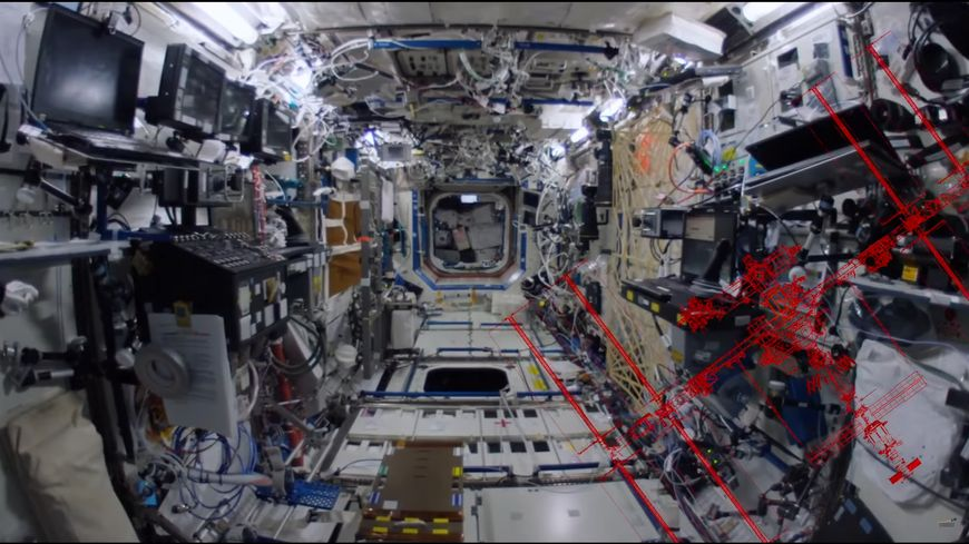 L'intérieur de la station spatiale internationale ou évolue le Français Thomas Pesquet