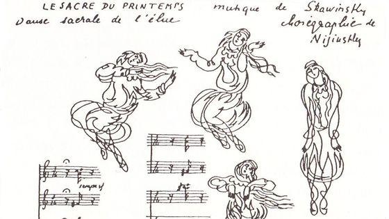 Dessins de la Danse du sacrifice et extraits de la partition du Sacre parus dans le magazine Montjoie ! (juin 1913)