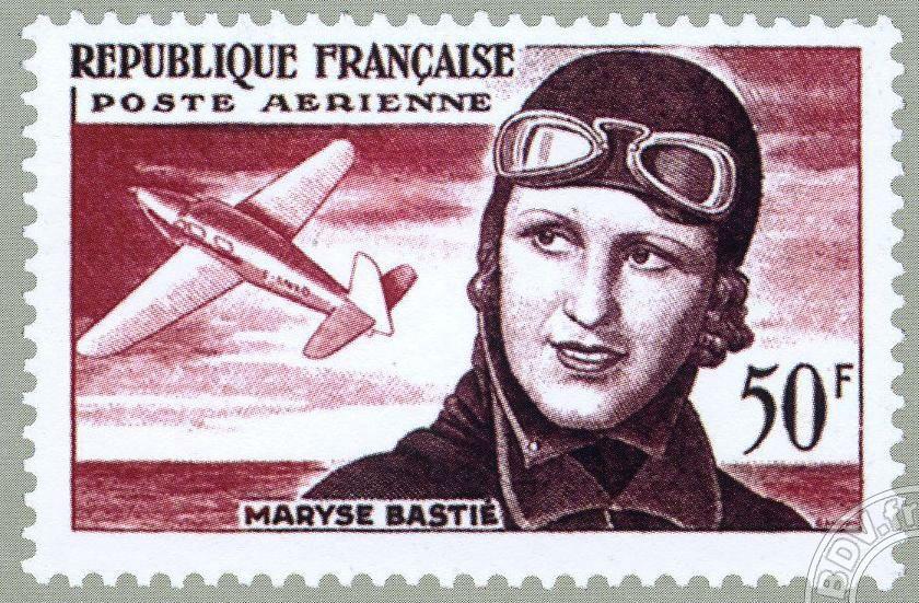 Timbre édité à l'effigie de l'aviatrice de Limoges, Maryse Bastié