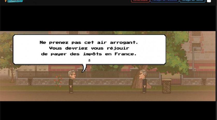 """Capture d'écran du jeu engagé """"Fiscal Combat"""" mettant en scène Jean-Luc Mélenchon détroussant Christine Lagarde, François Fillon ou encore Jérome Cahuzac."""
