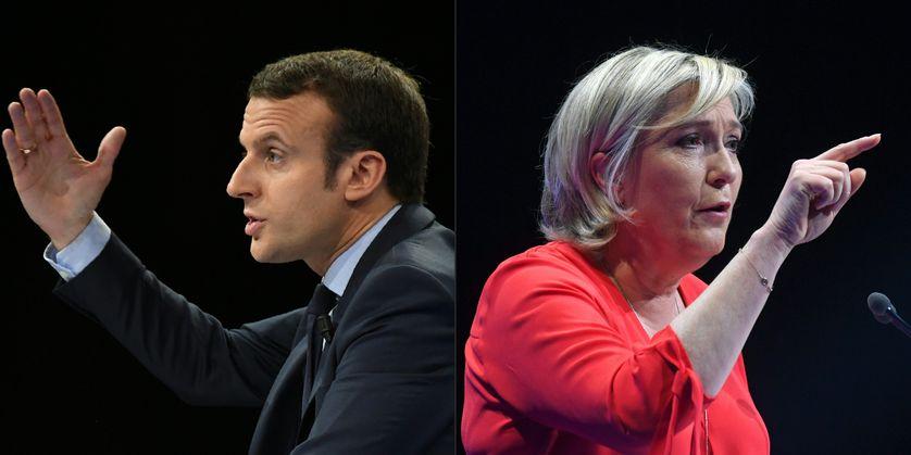 Emmanuel Macron, candidat d'En Marche! (g) et Marine Le Pen, candidate du Front National (d)