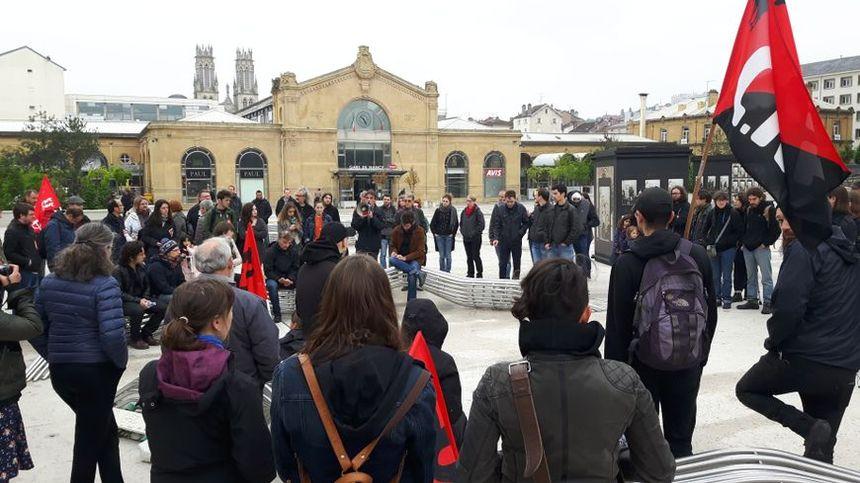 Rassemblement contre la politique sociale d'Emmanuel Macron lundi matin à Nancy.