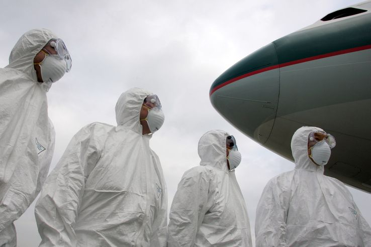 L'équipe sanitaire de l'aéroport de Hong Kong