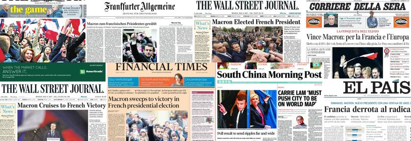 Montage des Unes de la presse étrangère