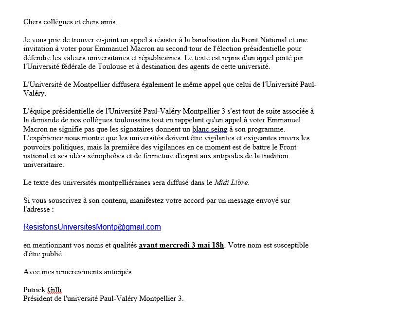 Courrier du président de Montpellier 3, accompagnant la pétition, et justifiant la démarche.