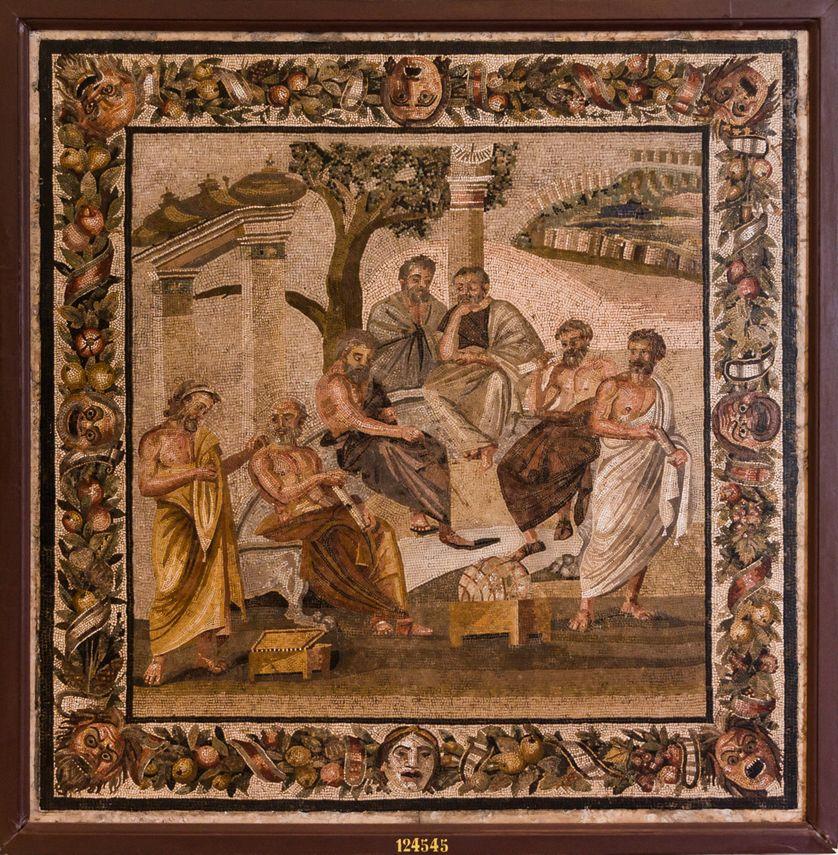 """""""Que nul n'entre ici s'il n'est géomètre"""" - L'Académie de Platon (mosaïque romaine trouvée à Pompéi)."""