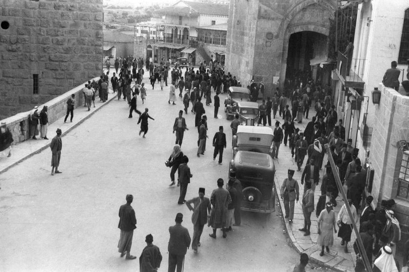La Porte de Jaffa de Jérusalem pendant la révolte arabe en 1936