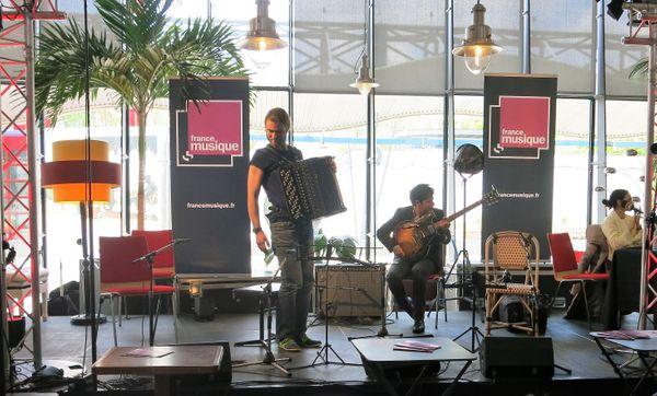 France Musique à Musicora, 29 avril 2017... En live ! Charles Kieny, session accordéon-jazz, duo guitare électrique-accordéon avec Martin Ferreyros, guitare (de g. à d.)