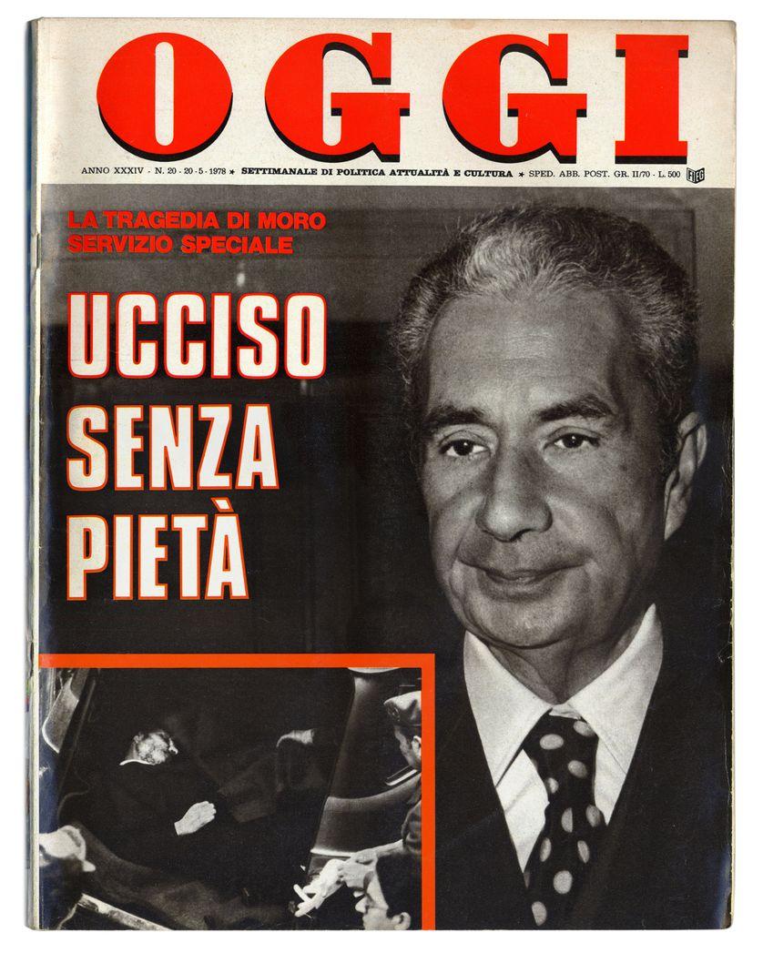 1978 : l'hebdomadaire d'information OGGI affiche en couverture le portrait du futur premier ministre italien, abattu par l'organisation Brigate Rosse et retrouvé mort dans un coffre de voiture