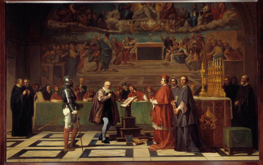 Galilée devant le Saint Office au Vatican. Peinture de Joseph Nicolas Robert-Fleury, 1847, Paris, Musée du Louvre