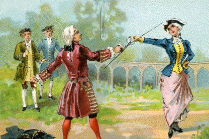 Combat d'escrime entre la chevalière d'Eon (l'espion Charles Genevieve de Beaumont, déguisé en femme, 1728-1810, ) et Monsieur de Saint George (Joseph Boulogne, 1748-1799, Chevalier de St Georges)