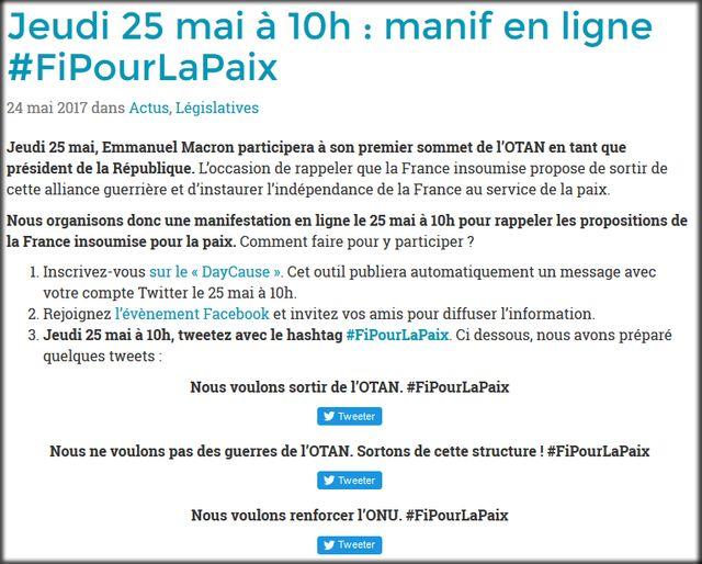 Capture d'écran du site de la France Insoumise